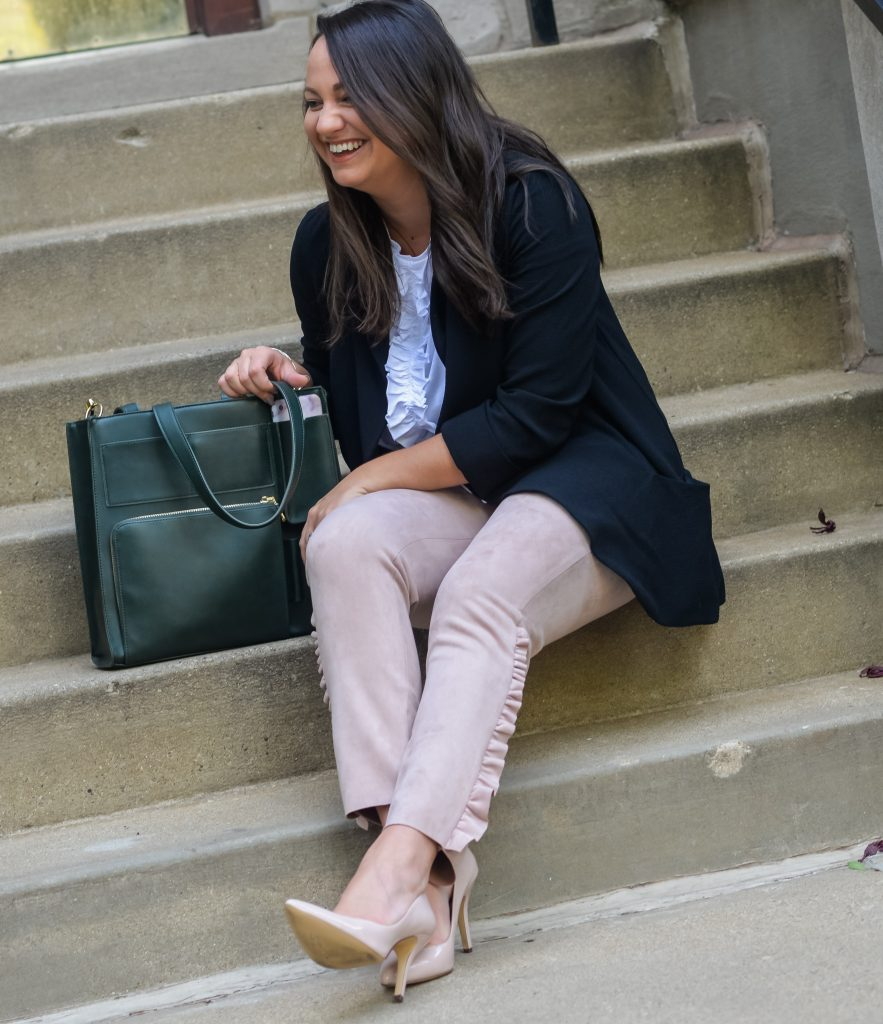 zara ruffled wear to work outfit and commuter tote bag green purse