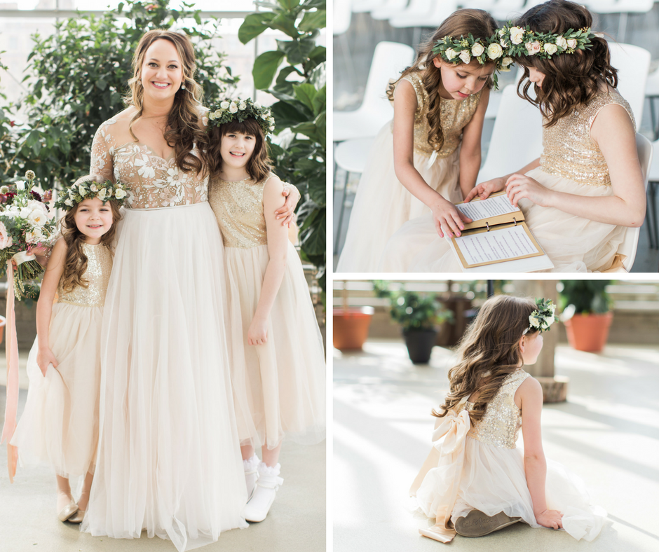 Wedding inspiration - Mismatched bridesmaid dresses. Gold flower girl dresses.
