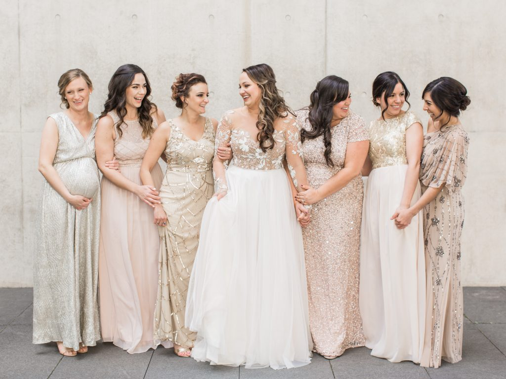 Wedding inspiration - Mismatched bridesmaid dresses. Beaded bridesmaid dresses.