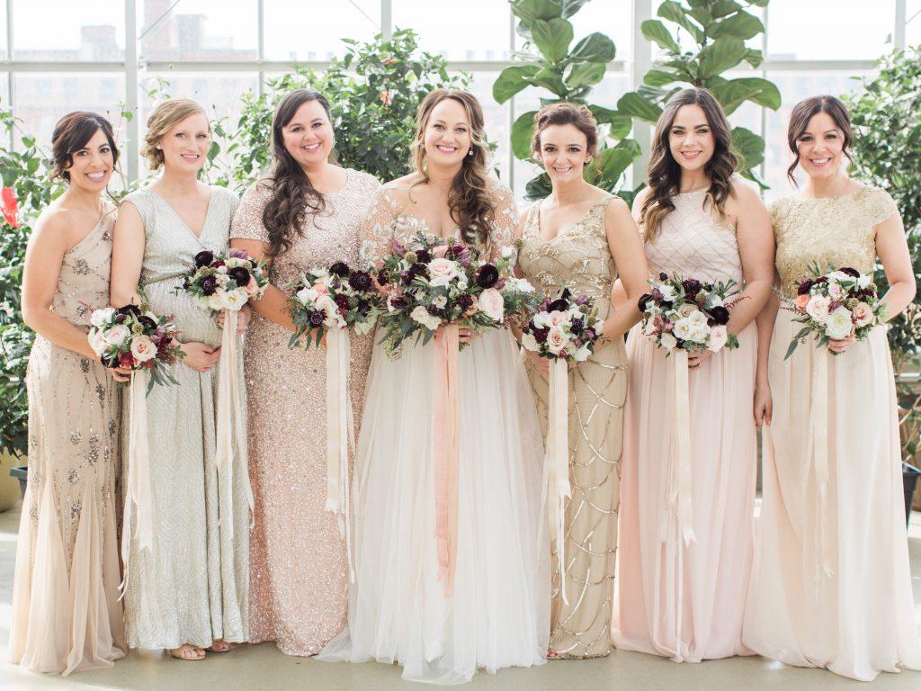 Wedding inspiration - Mismatched bridesmaid dresses. Beaded bridesmaid dresses.