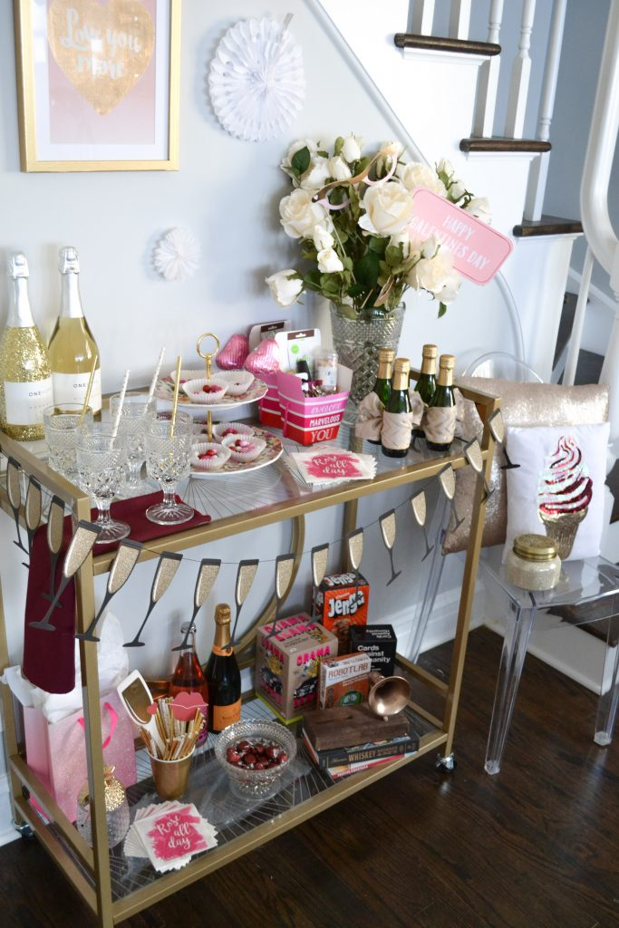 Galentine's Day bar cart party decor!