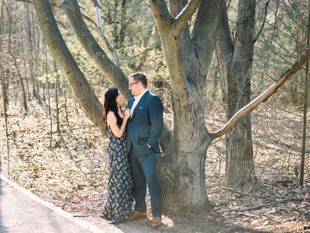engagement photos in the woods in michigan